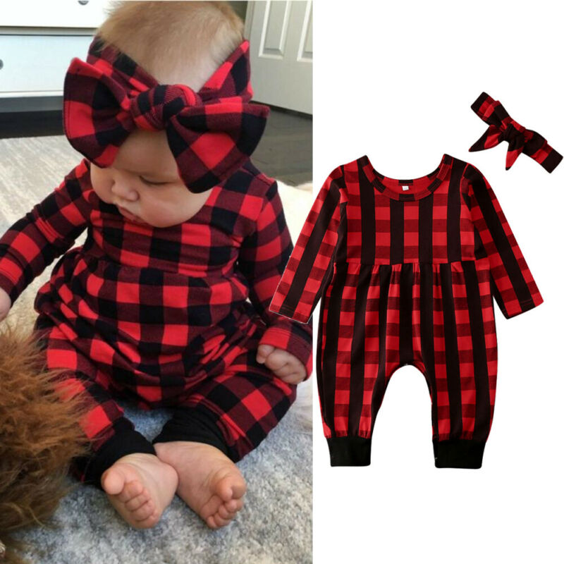 Outfit Rompers Jumpsuit Xmas Christmas Bay-Girl Newborn Plaids Overall Months 0-24 Headband title=