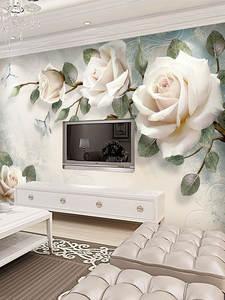 Wallpaper Flower Background-Decor Oil-Painting Embossed 3d Stereoscopic Floral Custom