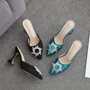 2020 New Sunflower Rhinestone Pointed jiu bei gen High Heel Slippers