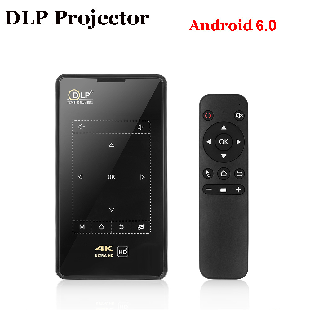 MINI POCKET ANDROID WIFI BLUETOOTH HD 1080P DLP PROJECTOR HOME THEATER 4K HDMI