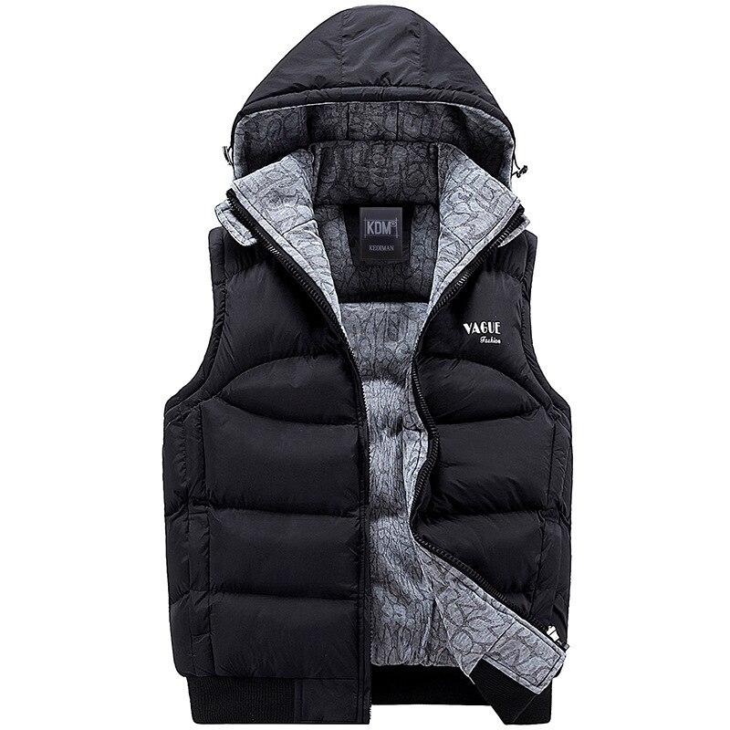 2019 Men Thickening Cotton Vest Hat Hooded Warm Vest Winter Waistcoat Men Casual Windbreaker Work Waistcoat Sleeveless Jacket