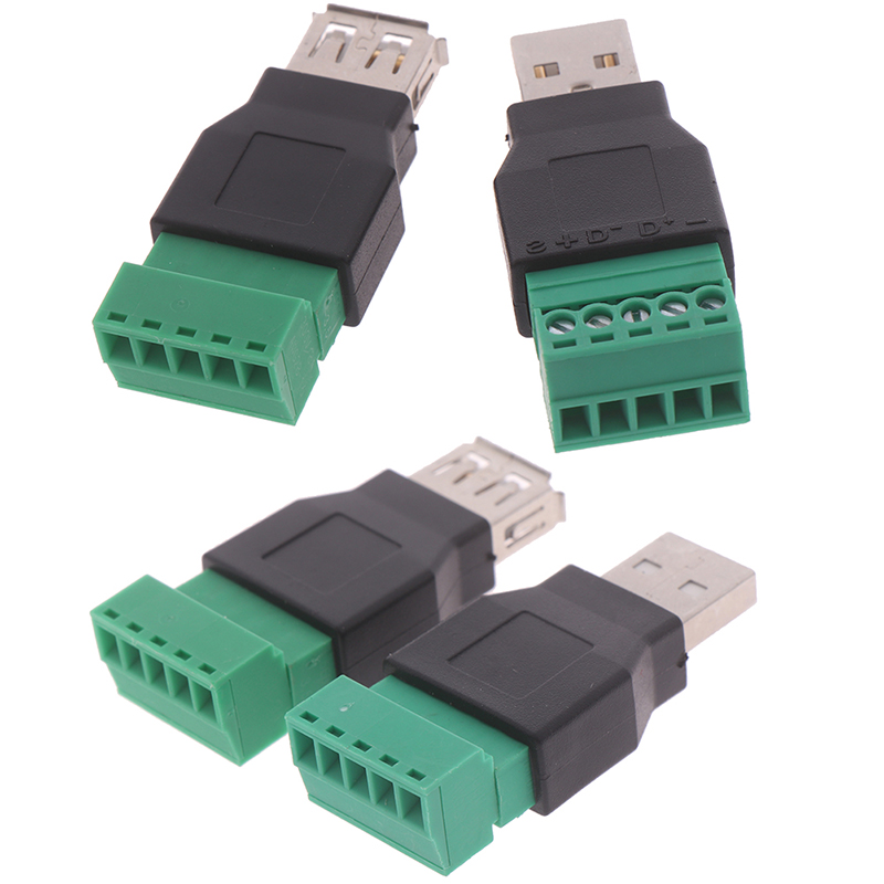 1Pcs USB Female To Screw Connectors USB2.0 Female Jack USB Plug With Shield Connector USB Female To Screw Terminal