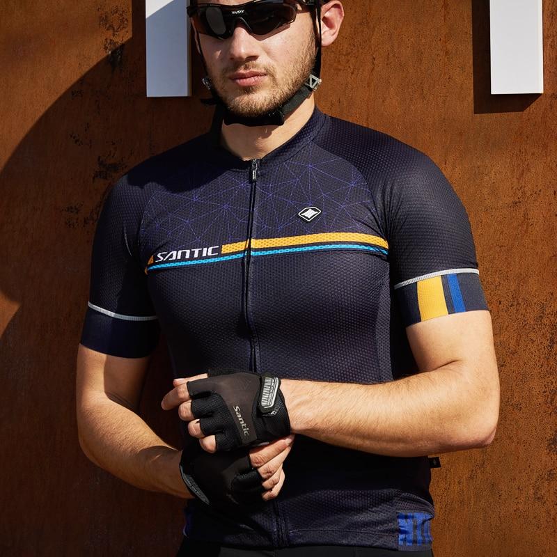 Santic Breathable Mens Cycling Jerseys Summer Short Sleeve Anti-slip Cuff Road