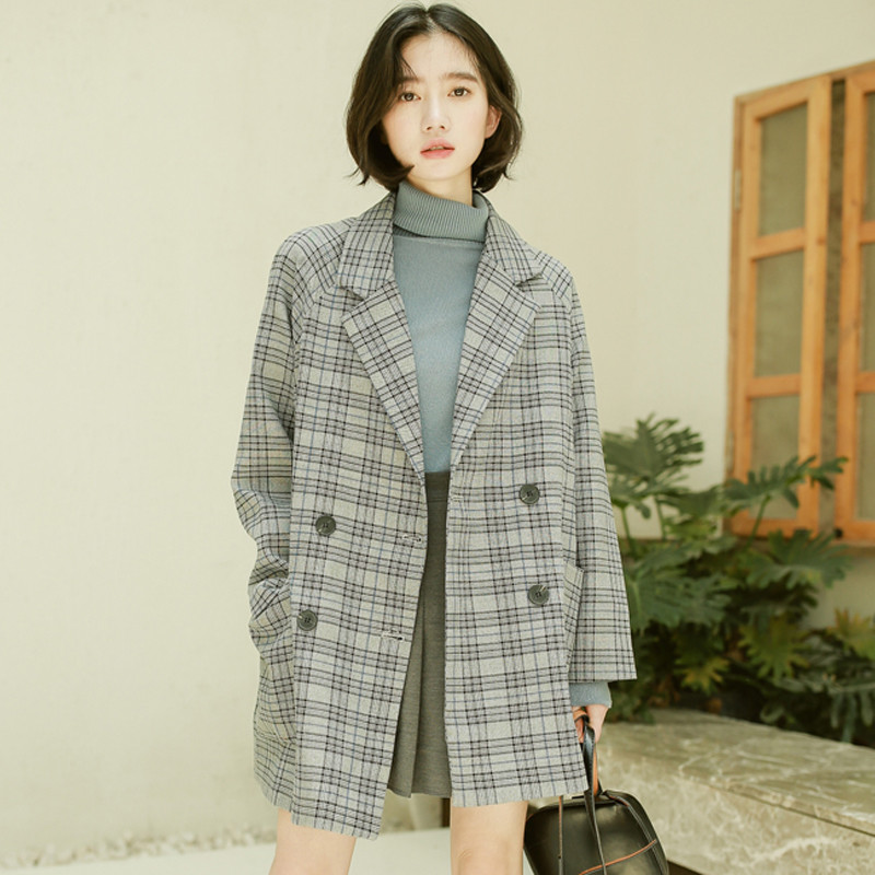 Fashion Long-sleeved plaid Suit Jacket Women 2020 new Spring Autumn loose British style Blazers Suit girls Tops g86