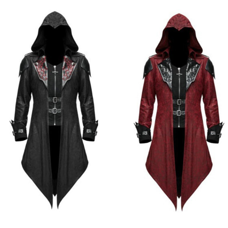 Halloween Costume Outwear Hooded Pu-Jackets Cosplay Adult Assassin's Creed Woman Edward title=