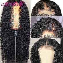 Wig Remy-Wig Human-Hair Curly Lace-Front Mi Lisa Pre-Plucked Black Women 8-26inch Malaysian
