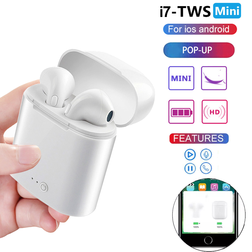 i7 Mini TWS Wireless Bluetooth 5.0 Earphone Mini Sport Handsfree Stereo Earbud Headset With Auto POP-UP For Apple iPhone Xiaomi