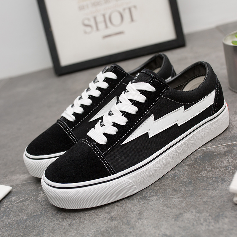Canvas Shoes Lightning Street-Revenge Storm-Pattern Black Fashion Skools Men's Hot Old title=