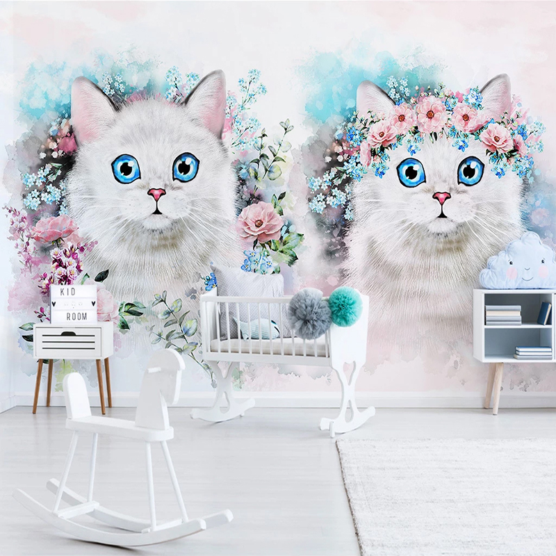 Custom Wall Murals 3D Photo Wallpaper Flower Cat Girl Room Children Room Bedroom Decoration Background Wall Painting Wallpapers