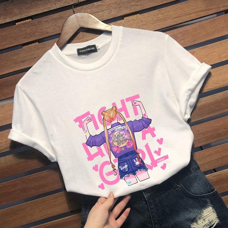 Anime Sailor Moon Tee Kawaii Summer Women T-shirt Harajuku Sweet Print Short Sleeve Tshirt Female Top Tees shirts graphic