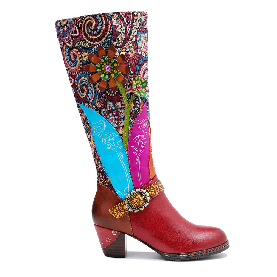 D Knight Luxury Boots Shoes Woman Retro Genuine Leather Casual Women's Knee High Boot Handmade Ethnic Female Western Cowboy Boot (10)