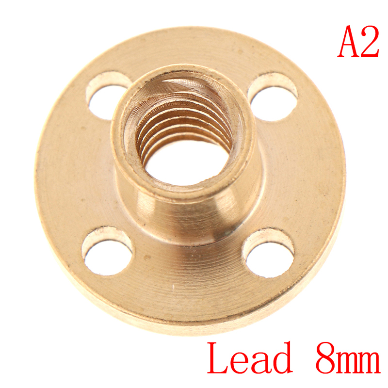 Hot New T8 Trapezoidal Nuts 8mm Part Copper Screws For Stepper Motor Lead Screw Brass 3D Printers PartsGood Quality