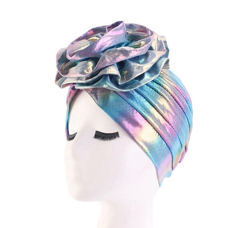 Women Laser Shiny Turban Big Flower Bandana Cap Women Hair Loss Hat Muslim Hijab Headwrap