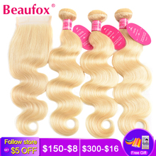 Beaufox Blonde Bundles Closure Body-Wave Brazilian 613 Remy