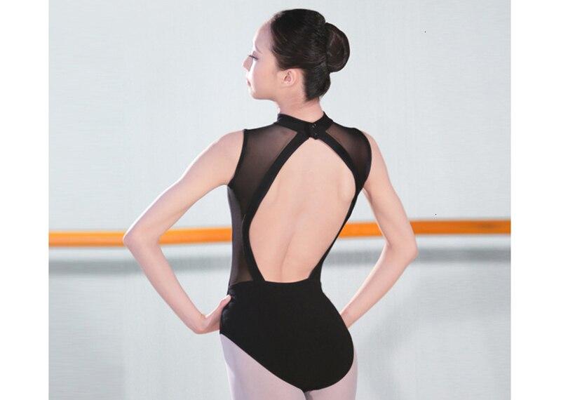 Ballet Dress One-Piece Women Dance Costume Girl Summer Backless Halter Sleeveless Adult Ballet Leotard Stand Collar (10)