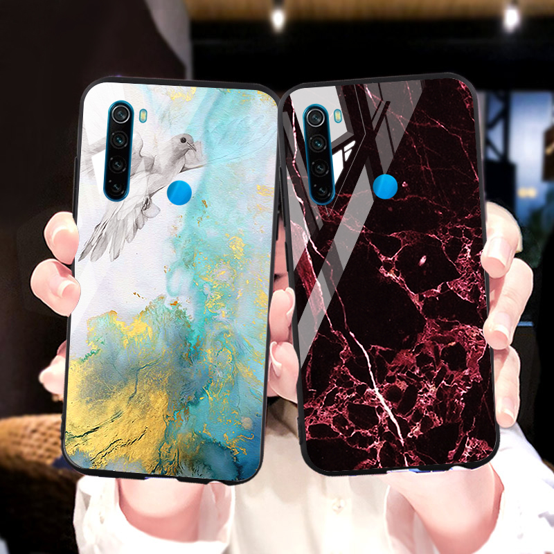 Marbled Tempered Glass For Xiaomi Redmi Note 8 7 6 5 Pro 6A 7A Case Silicone Mi A3 A2 A1 CC9e 8 Lite 9 SE Mix 2s Poco F1 Cover