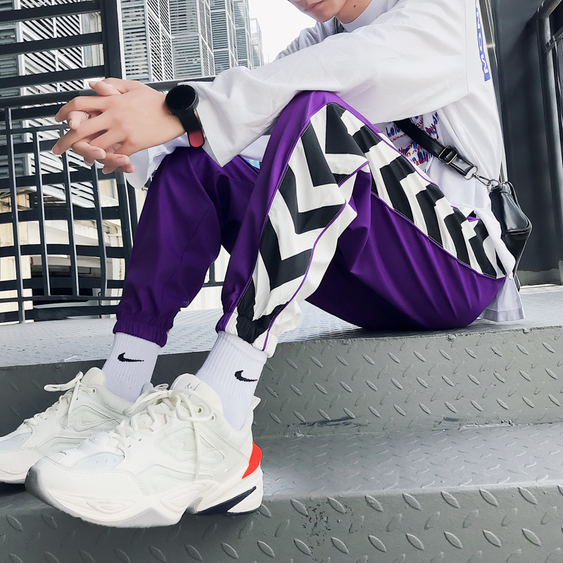 Purple Sweatpants Movement-Trousers Joggers Pencils Printed Fashion Men Plus-Size Casual title=