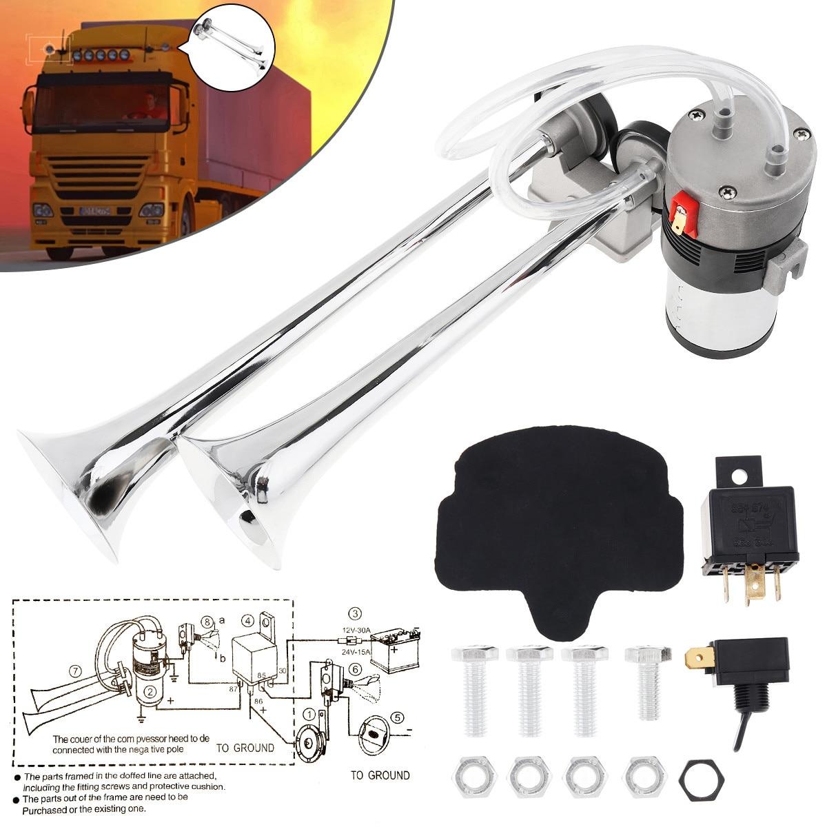 Double Tube Chrome Electric Pump Car Twin Air Horn /& Compressor Hose 12V Trumpe