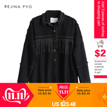 Denim Jacket Outerwear Coat Mental-Covered-Button Tassels Sequined REJINAPYO Black Women