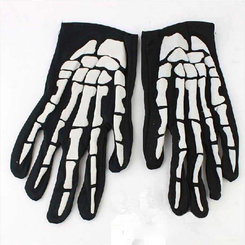 1 Pair Halloween Horror Skull Claw Bone Skeleton Goth Racing Full Gloves Cycling Hiking Equipment outdoor Glove #4S22 (1)