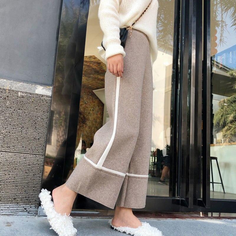 Wool Women Wide Leg Pants 2019 Autumn Winter Casual High Waist Plus Size Pant Loose Female Elegant Trousers Pantalon Femme