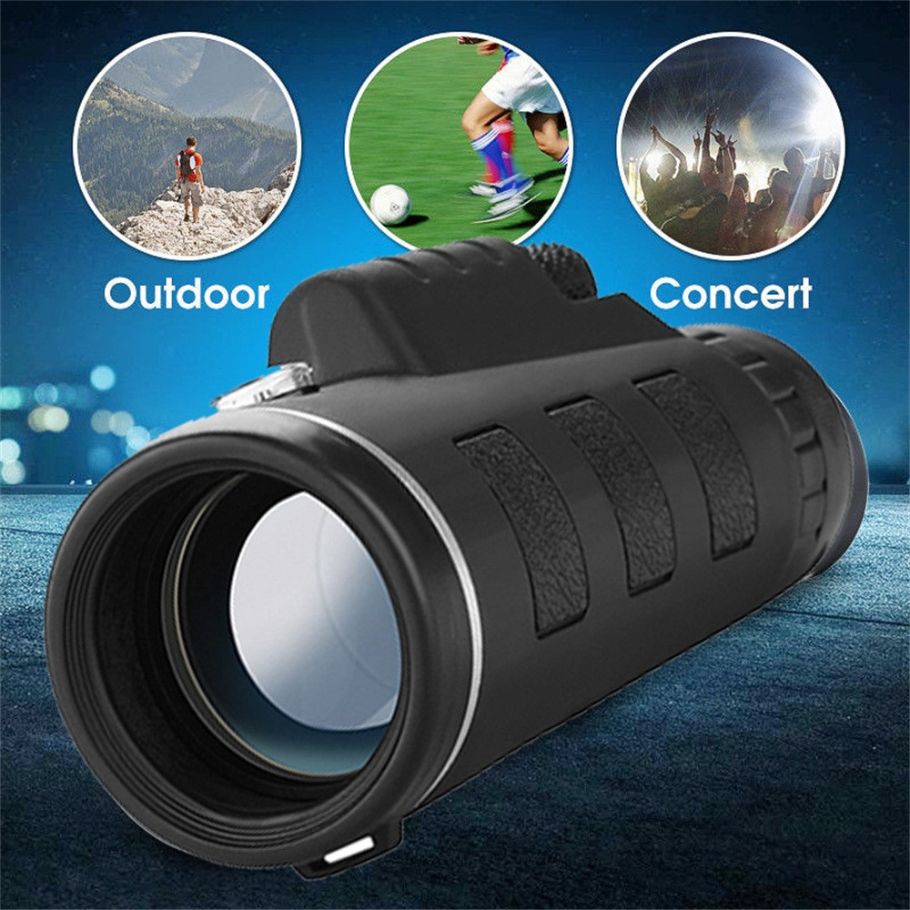 Person - 40X60 Zoom Optical HD Lens Monocular Telescope + Clip For Universal Phone HD Night Vision with Phone Clip and Tripod