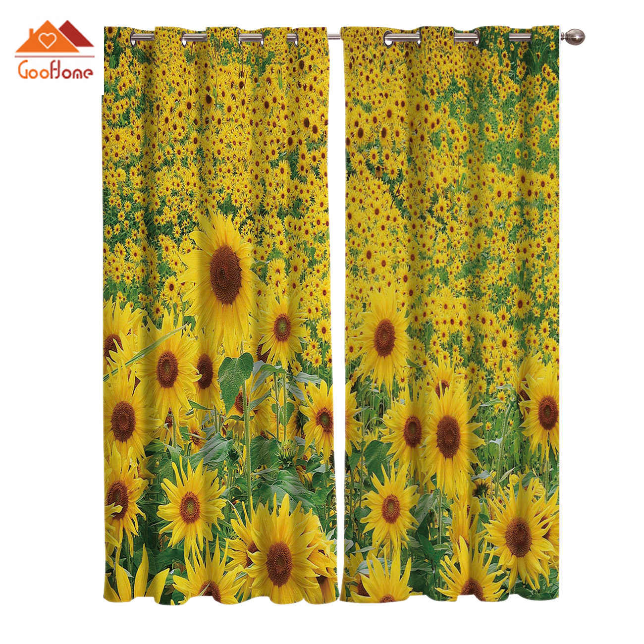Sunflower Flower Window Curtains Living Room Outdoor Fabric Drapes Curtain Home Decor Curtains Aliexpress