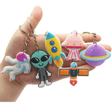 PVC Keychain Spaceman Pendant Key Chain Gift Astronaut Key Ring Happy Birthday Decor Kids Boy Space Theme Party Gift For Guests