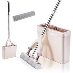 Sponge Mop And Mop Bucket with Replacement Sponge Heads PVA Sponge Mop Super Absorbent Easy Cleaning for Hardwood Floor