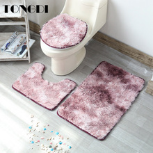 TONGDI Bathroom Carpet Toilet Set Decorative Pattern Embossing Hairy Plush Soft Shower Absorbent Sop Non-slip Mats Decor For