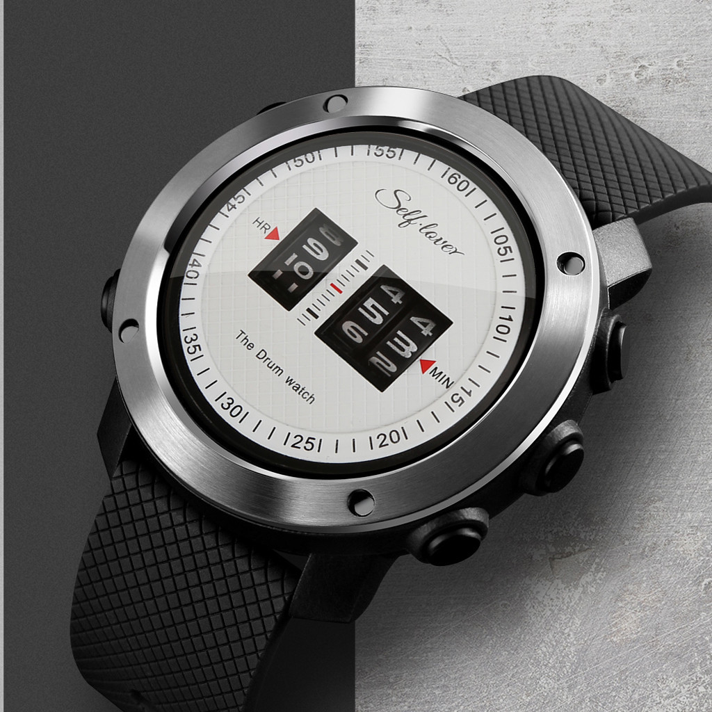 Waterproof Watch Drum-Roll Rolling-Time Mens Relogio Rubber-Strap Stunning Fashion Business title=