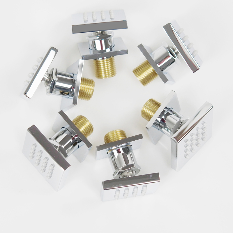 M Boenn Pack of 6 Brass Square 2 Inch Massage Shower Body Sprayer Jets,Chrome
