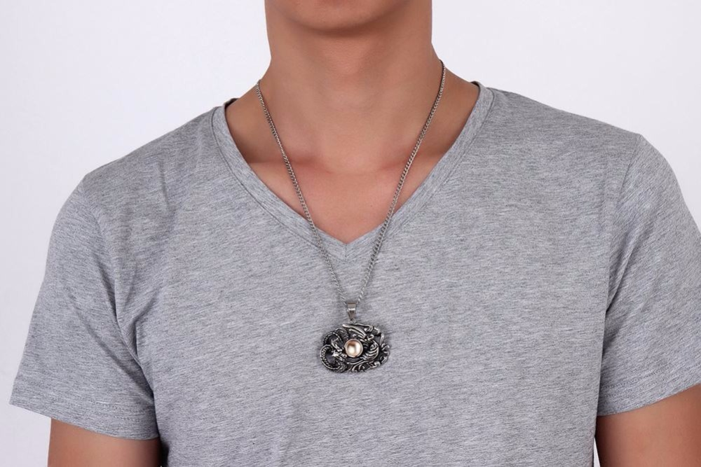 Chinese Feature Mens Necklaces Stainless Steel Dragon and Phoenix Pendant Necklace Men Vintage Punk Bike Jewelry Accessories collares collier colar choker 11