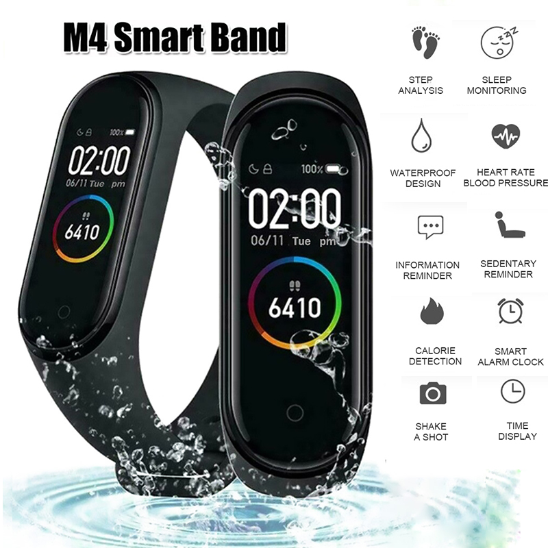 Smart Wristband Activity-Tracker Heart-Rate-Monitor Remote-Control Color-Screen Blood-Pressure title=