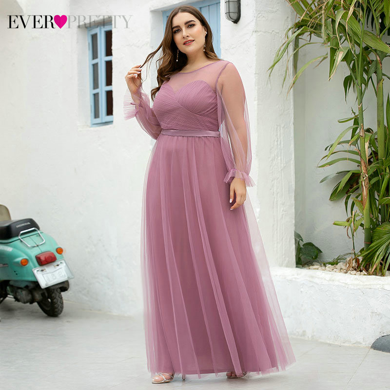 Plus Size Dusty Pink Prom Dresses Ever Pretty EZ07663OD A-Line Full Sleeve O-Neck Ruched See-Through Tulle Formal Party Gowns