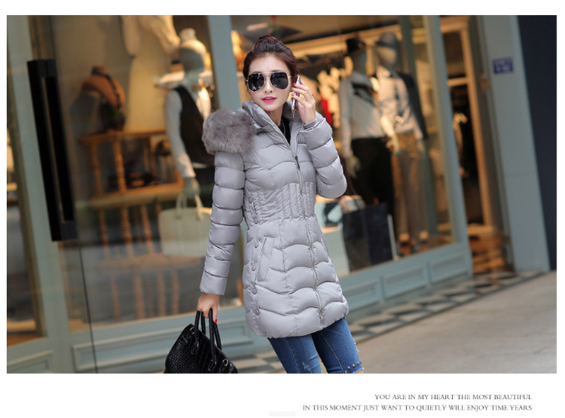 Winter Long Women Coats Parkas Slim Pleated Black Female Coat Outwear Fashion Disassembled Hooded Cotton Women Jackets MLD1271 4