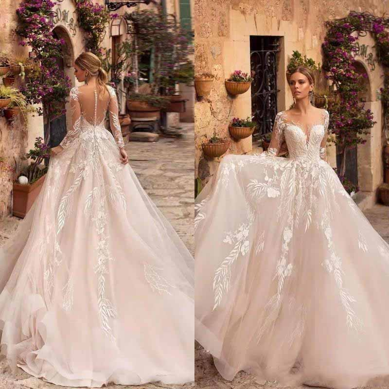 A Line Long Sleeve Wedding Dresses 2020 Sexy Illusion Back Ivory Lace Appliqued Tulle Bridal Gown Beach Vestido de Novia