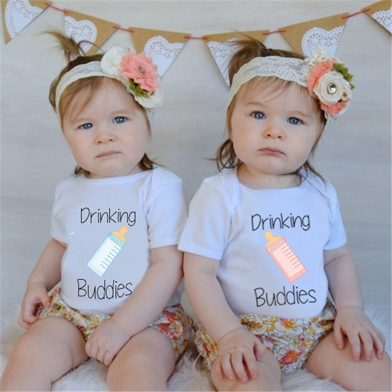YSCULBUTOL Drinking Buddies Baby Funny Twin Bodysuit Twin boy Girl Matching Outfits Twins Clothes