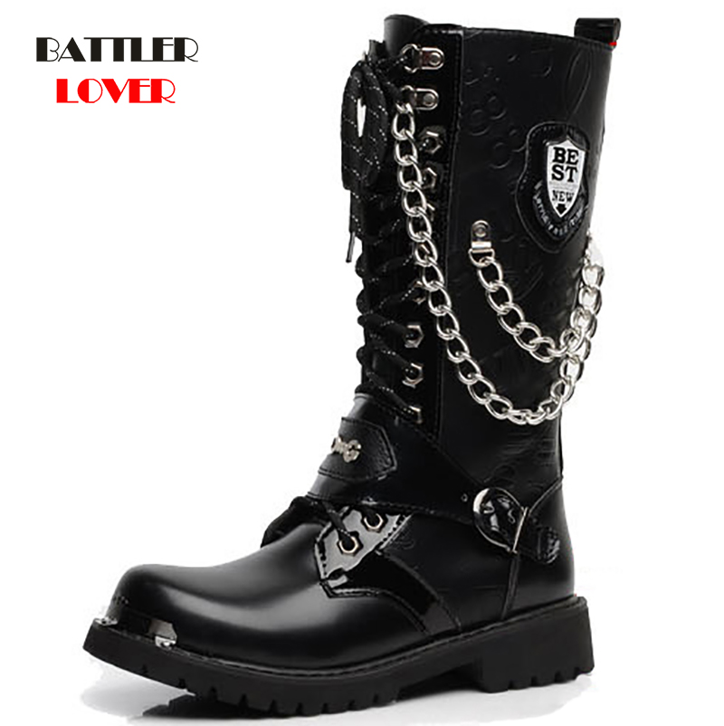 Army Boots Men High Military Combat Mens Boots Mid Calf Metal Chain Male Motorcycle Punk Martin Boots Winter Men