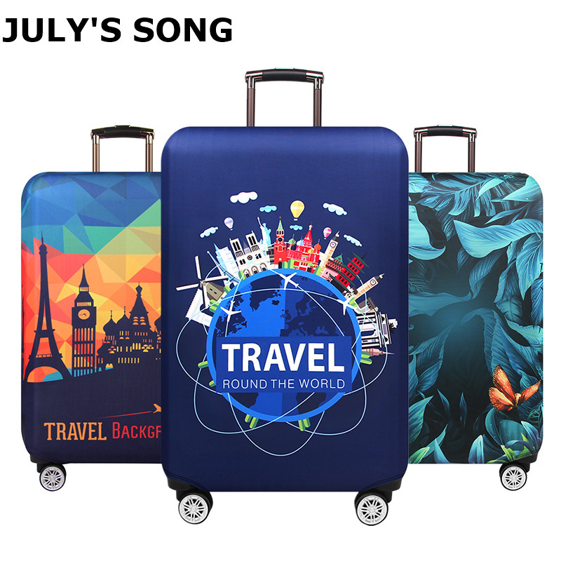 JULY'S SONG Thicken Suitcase Protective Covers For 18-32 Inch Suitcase Case Travel Luggage Bag Trolley Elastic Luggage Cover title=