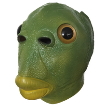 Fish-Mask Headgear Weird Boba Latex Green Horror Spoof Party Run