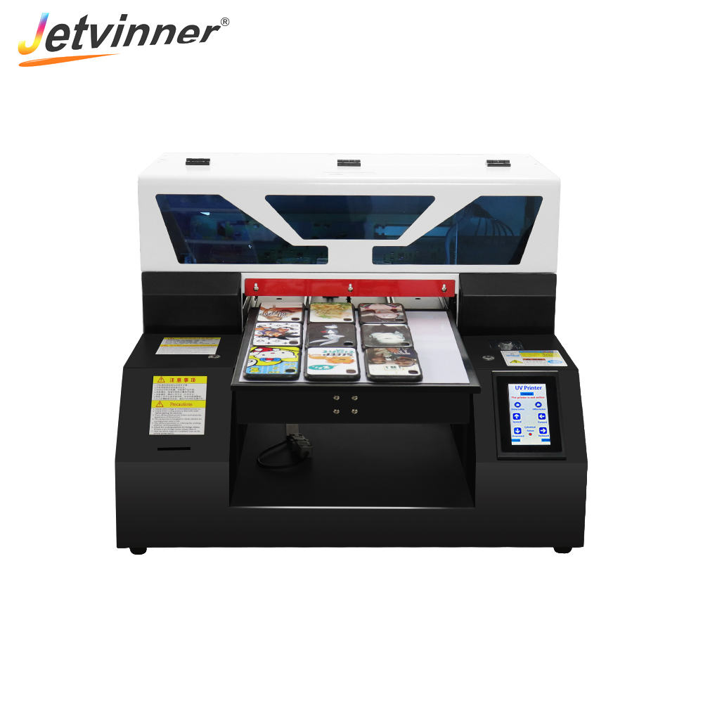 Jetvinner Full Automatic A3 Size UV Printer Flatbed Printer for Bottle Phone Case Metal Tempered Glass Arcylic With Touch Screen title=