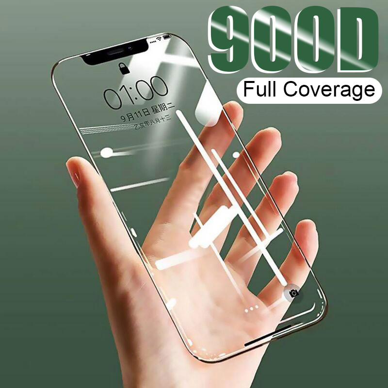 900D Curved Full Cover Tempered Glass on the For iPhone X XS Max XR Screen Protector Glass For iPhone 7 8 6 6s Plus 11 Pro Film title=