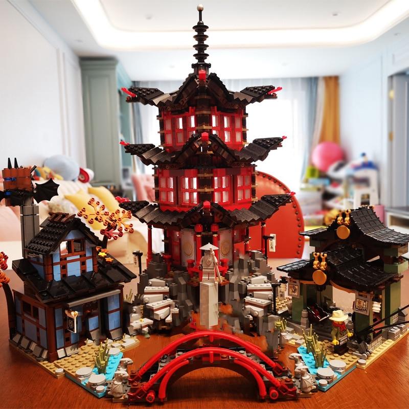 For Legoing Ninjagoes Movie Temple Of Airjitzu Ninja Figures Wars Model Building Blocks Legoings Ninja Ship Bricks Children Toys