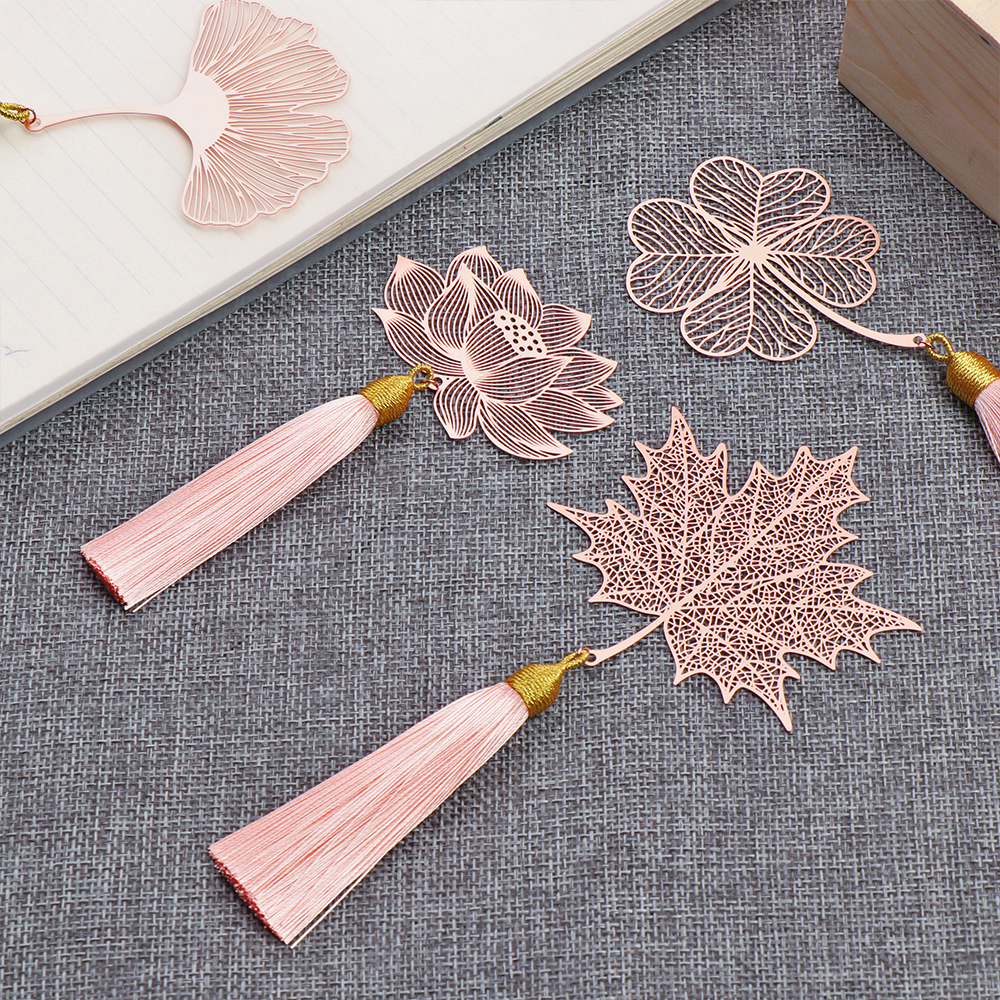 1Pcs Rose Gold Retro Book Markers 6.5cm * 7cm Copper Metal Bookmark Tassel Chinese Style Leaf Book Holder Stationery Supplies