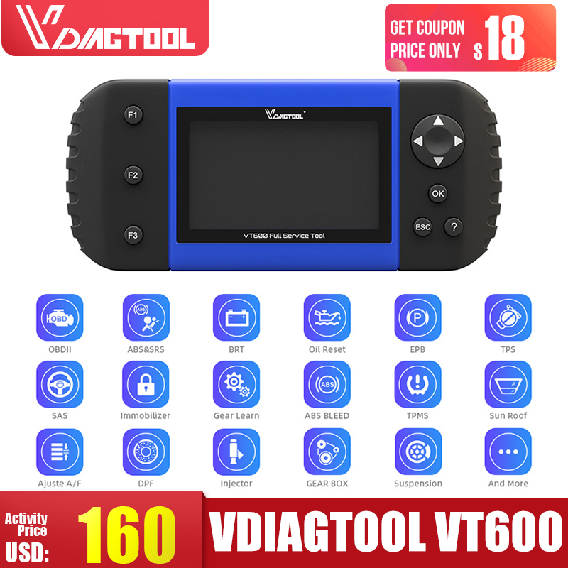 VDIAGTOOL VT600 OBD2 Automotive Scanner Tool Engine ABS SRS EPB Oil Service Reset Injector Coding OBDII Car Diagnostic title=