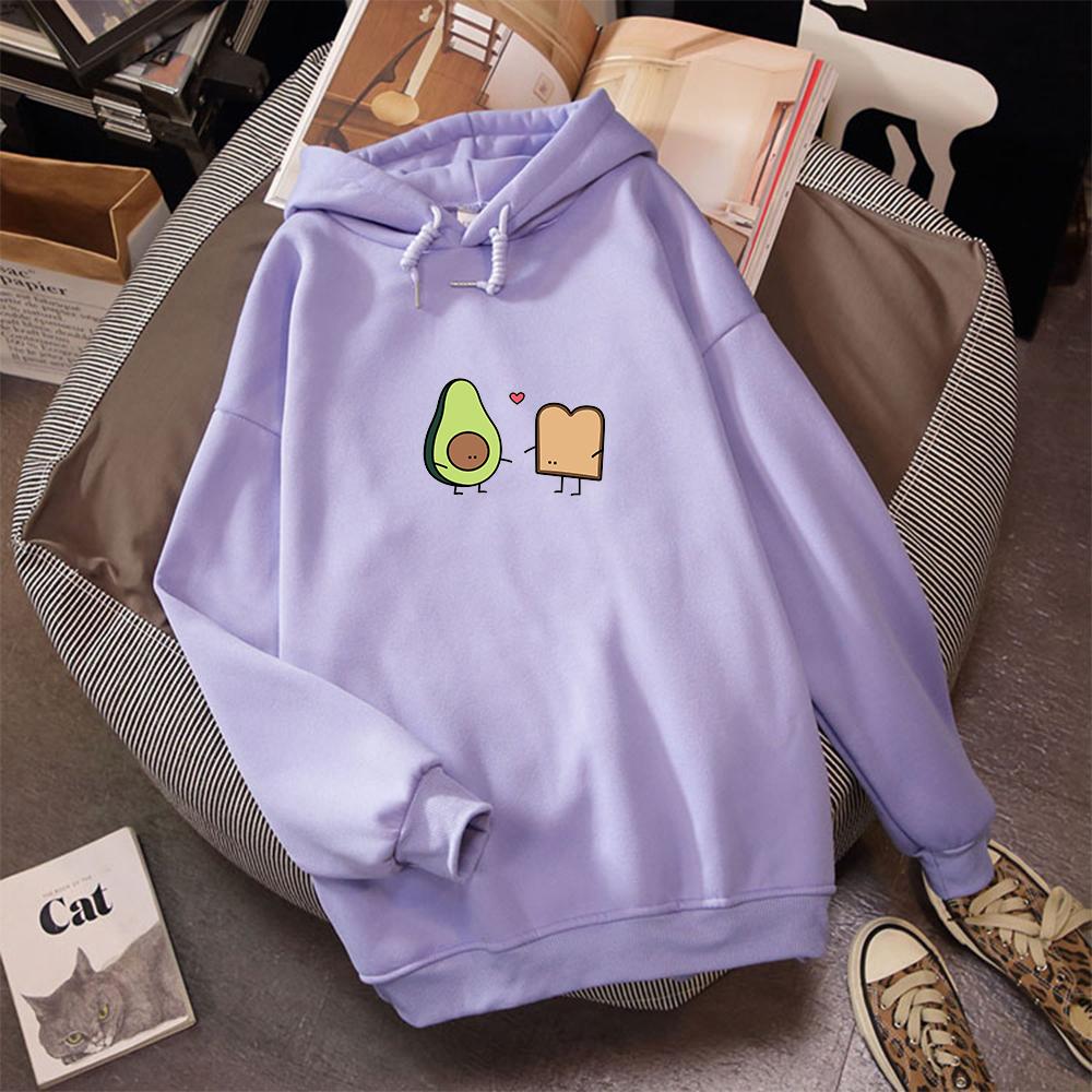 ZHAOXIANGXIANG Couples Hoodies Lovers Harajuku Cute Avocat Vegan Bread Korean Cartoon Hoodies Femmes Streetwear Oversize Sweatshirts