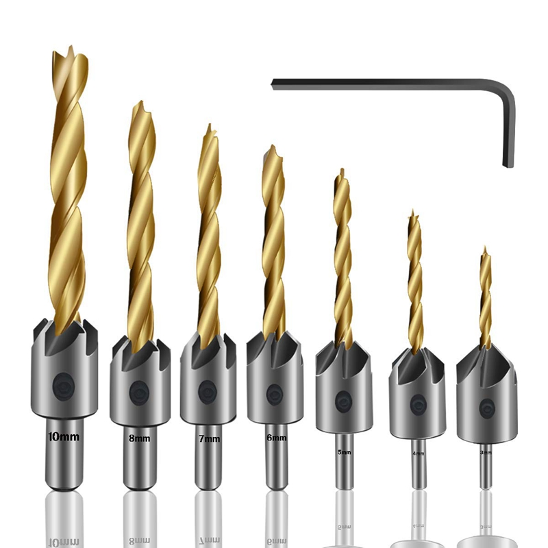 8 6 12 Value Set with Pin Silver Countersink Drill Bit Set Power Tools Accessories for Plastic Metal 5pcs #5 1//4 Inch Hex Shank Woodworking Tool Adjustable Countersink 10