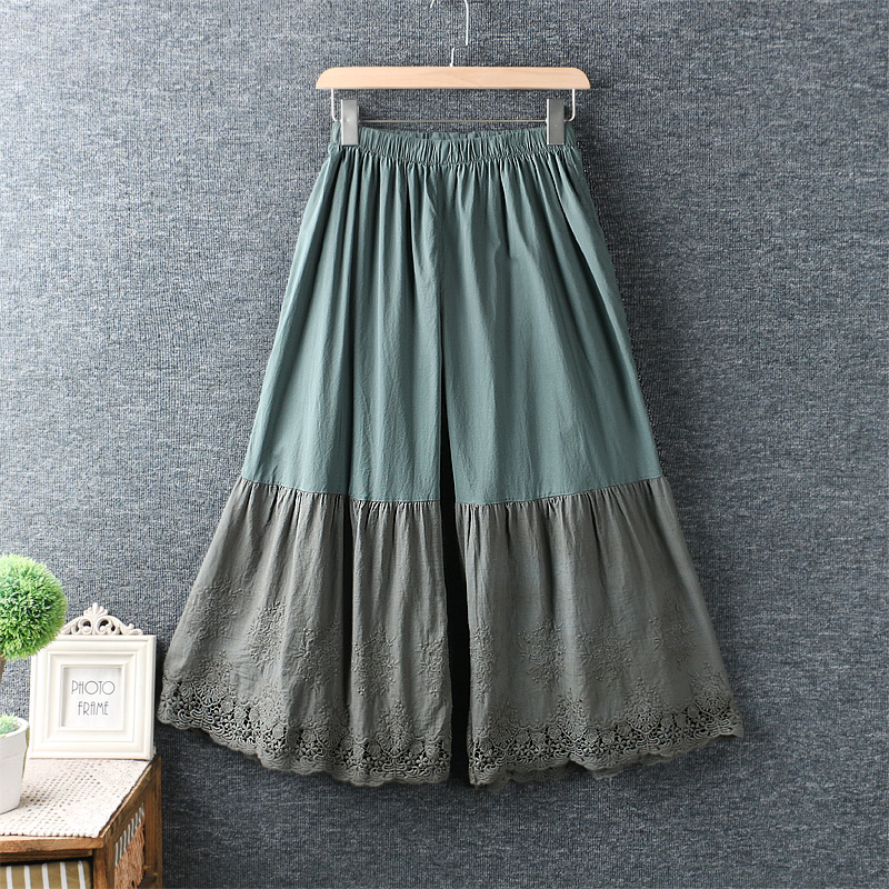 2020 New Summer Japanese Fresh Elastic Water Soluble Embroidery Lace Wide Leg Pants Cotton Loose  Pants