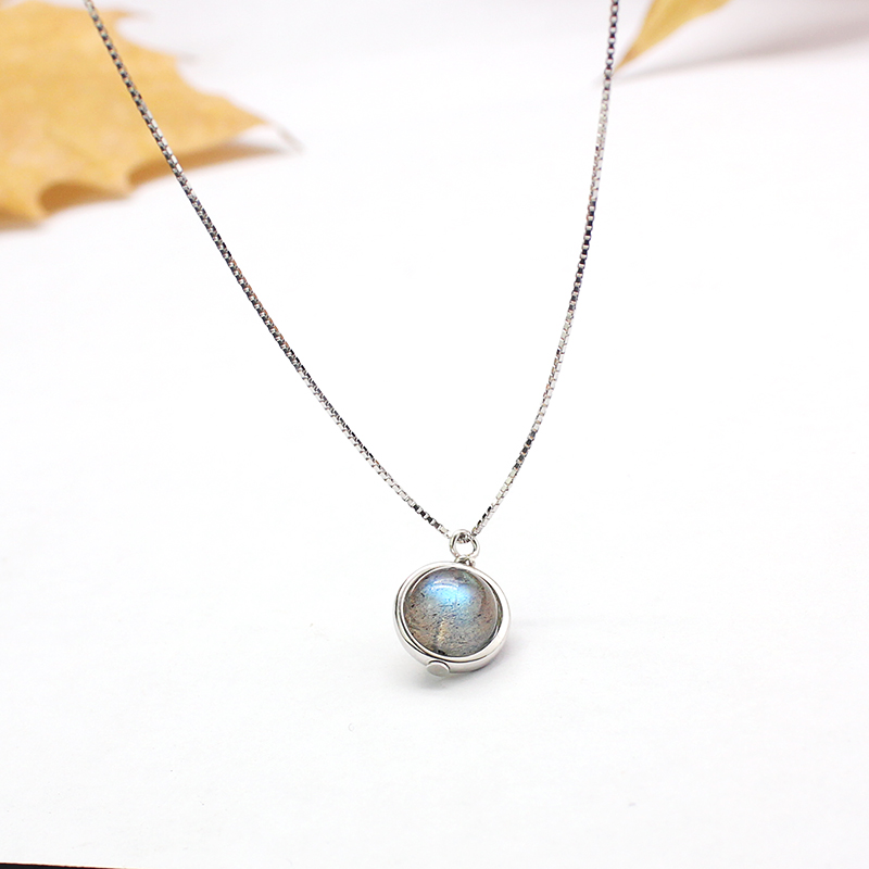 Genuine S925 Sterling Silver Labradorite Pendant Necklace For Women Fine Jewelry Nature title=